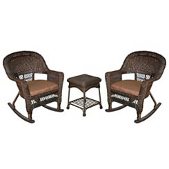 Brown Espresso Wicker Rockers and Table, Set of 3