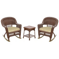 Tan and Honey Wicker Rockers and Table, Set of 3