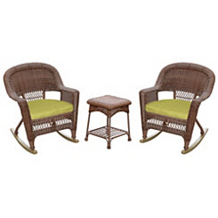 Green and Honey Wicker Rockers and Table, Set of 3