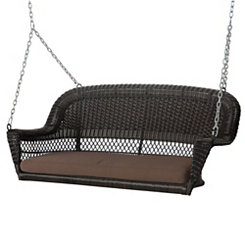 Espresso Wicker Porch Swing with Brown Cushion