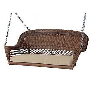Honey Wicker Porch Swing with Tan Cushion