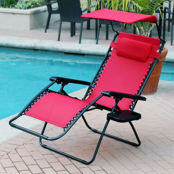 Red Zero Gravity Chair with Sunshade and Tray