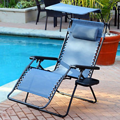 Blue Zero Gravity Chair with Sunshade and Tray