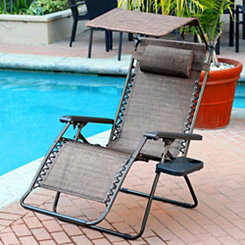 Brown Zero Gravity Chair with Sunshade and Tray