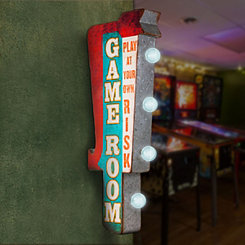 Vintage LED Game Room Marquee Plaque