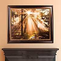 Forest Sunrise Framed Canvas Art Print