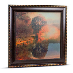 Soft Lakeside Forest Framed Canvas Art Print