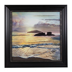Rock Beach Sunset Framed Canvas Art Print