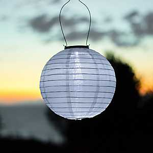 Round White Solar Lantern, 10 in.