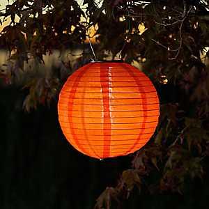 Round Orange Solar Lantern, 10 in.