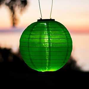 Round Green Solar Lantern, 10 in.