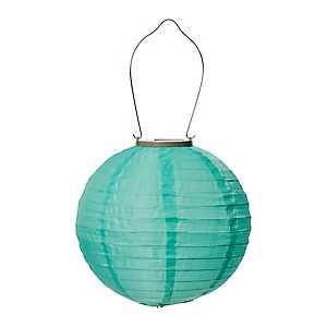 Round Aqua Solar Lantern, 10 in.