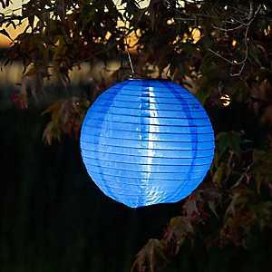 Round Blue Solar Lantern, 10 in.