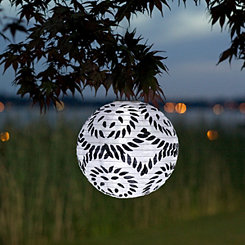 Round Black and White Solar Lantern, 10 in.