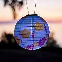 Round Floral Bloom Solar Lantern, 10 in.
