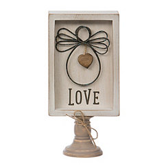 Wire Angel Love Wood Pedestal