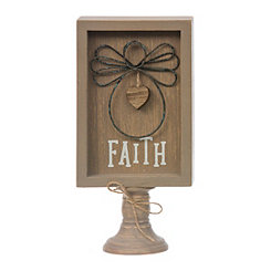 Wire Angel Faith Wood Pedestal