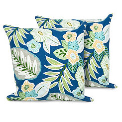Tropical Floral Outdoor Pillows, Set of 2