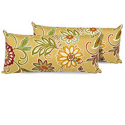 Golden Floral Outdoor Accent Pillows, Set of 2