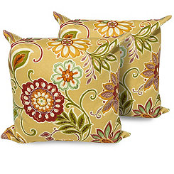 Golden Floral Outdoor Pillows, Set of 2