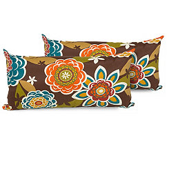 Retro Floral Outdoor Accent Pillows, Set of 2