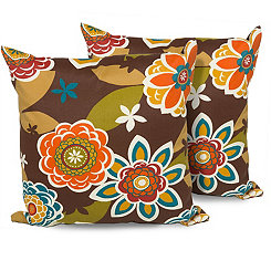 Retro Floral Outdoor Pillows, Set of 2
