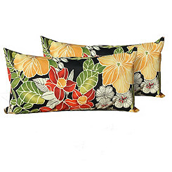 Black Floral Outdoor Accent Pillows, Set of 2