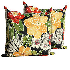Black Floral Outdoor Pillows, Set of 2