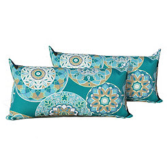 Teal Sundial Outdoor Accent Pillows, Set of 2