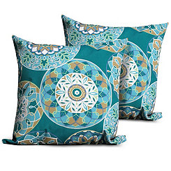 Teal Sundial Outdoor Pillows, Set of 2