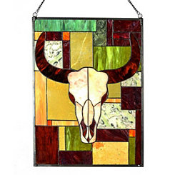 Jade Rustic Cattle Stained Glass Panel Plaque