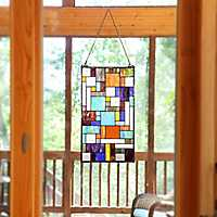 Mod Collage Stained Glass Panel Plaque