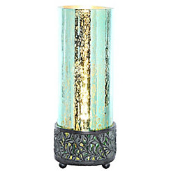 Round Teal Mercury Glass Uplight