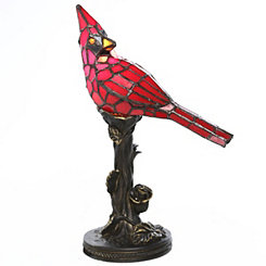 Stained Glass Cardinal Accent Lamp