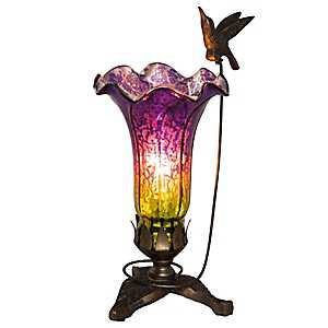Hummingbird Mercury Glass Lily Uplight