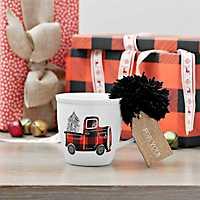 Plaid Truck and Christmas Tree Ceramic Mug