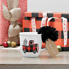 Plaid Truck and Christmas Tree Ceramic Mug