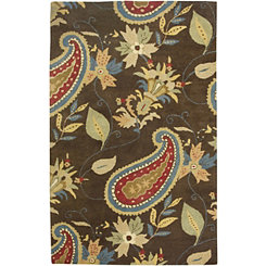 Brown Paisley Area Rug, 5x8