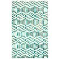 Julian Pointe Teal Area Rug, 5x8