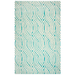 Point Falls Teal Area Rug, 5x8