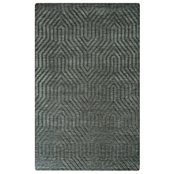 Dark Gray Carved Geometric Area Rug, 5x8