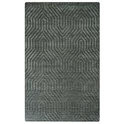 Dark Gray Carved Geometric Area Rug, 5x8