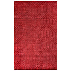 Red Carved Geometric Area Rug, 5x8