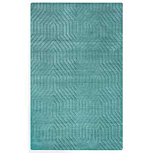 Turquoise Carved Geometric Area Rug, 5x8