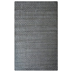 Charcoal Gray Carved Geometric Area Rug, 5x8