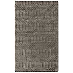 Taupe Carved Geometric Area Rug, 5x8