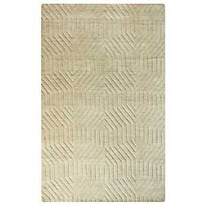 Tan Carved Geometric Area Rug, 5x8