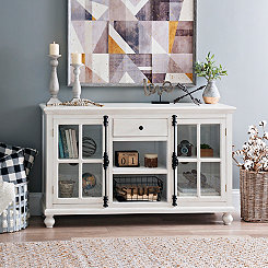 Antiqued White Media Cabinet