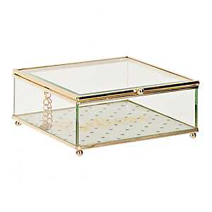 Gold Believe Glass Jewelry Box