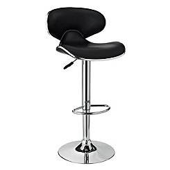 Chrome and Black Adjustable Bar Stool